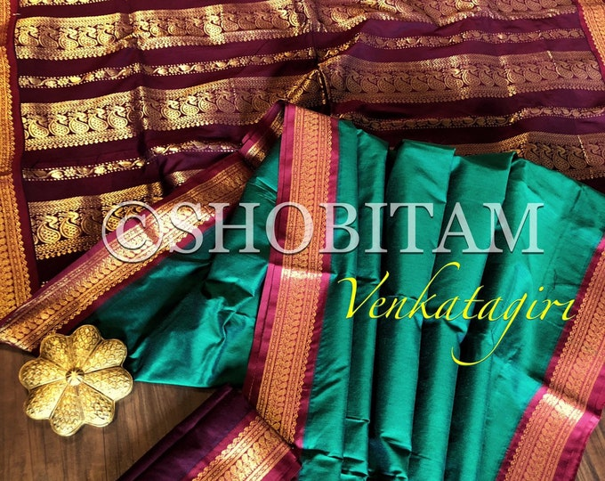 Dark Green and maroon Venkatagiri Cotton Silk Saree  | Pretty Saree | Shobitam Saree