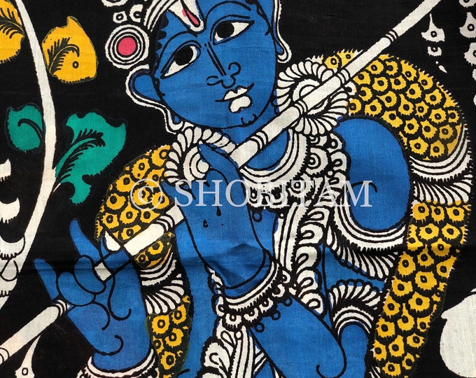 Venugopal Painting Authentic Pen Kalamkari Handpainted Saree on Chennuri Silk | Kalamkari Saree | Shobitam  Saree