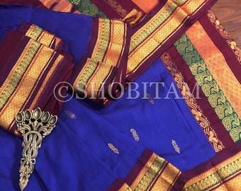 Royal Blue with Maroon Venkatagiri Cotton Silk Saree  | Pretty Saree | Shobitam Saree