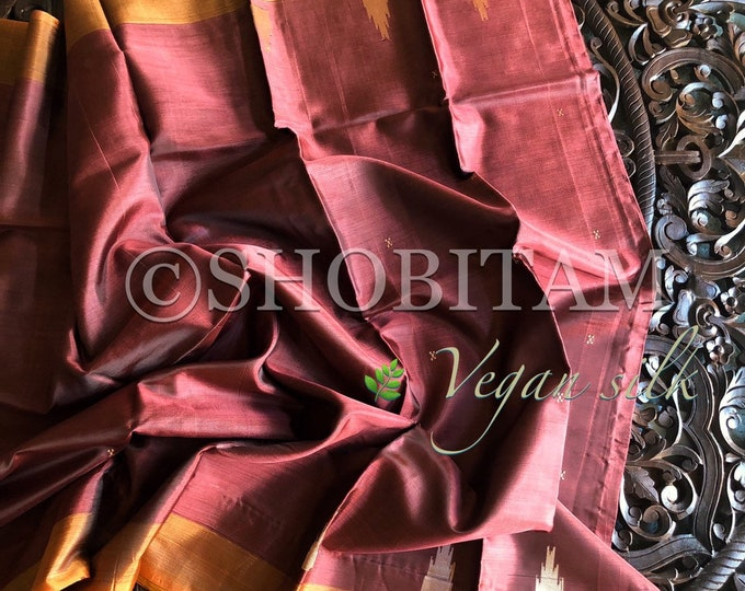 Vegan Silk Saree : red-brown with sandalwood orange pallu. | Pretty Saree | Shobitam Saree