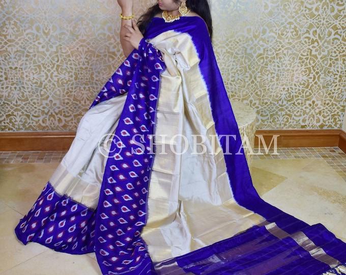 Silk Saree: Pochampally Pure  Silk Saree   Ikkat Saree   Off White with Royal Blue and muted gold zari Saree   SILK MARK CERTIFIED
