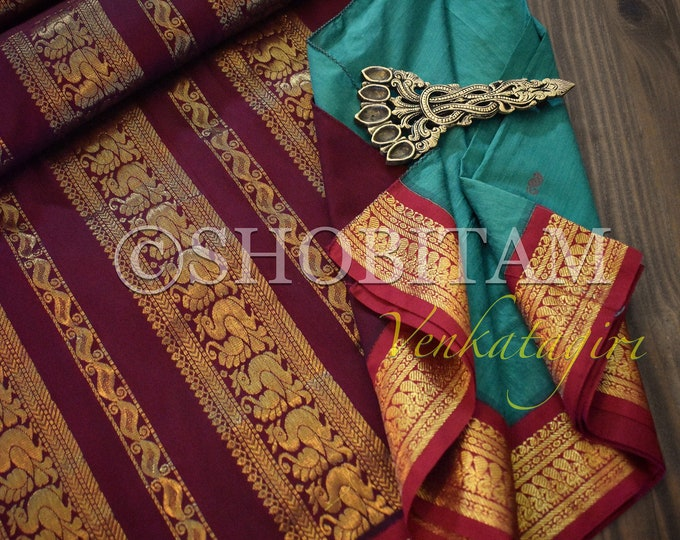 Pine green with red Venkatagiri Cotton Silk Saree  | Pretty Saree | Shobitam Saree