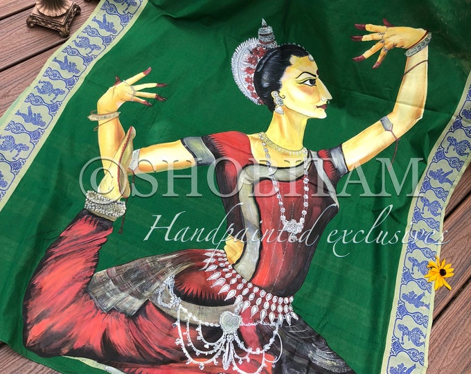 Odissi Dancer in classic pose  I Pujo Saree | navaratri Saree | Statement Handpainted Saree | Shobitam Exclusive Saree