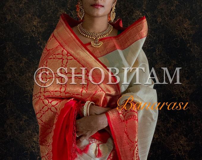 Tussar Silk Saree | beige with red border | SILK MARK CERTIFIED | Pure Silk Saree
