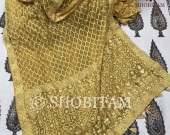Pale Mustard Chikankari Saree in fish scales design | Shobitam Saree