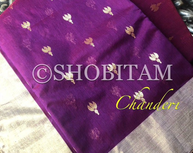 Authentic Chanderi Silk cotton Handwoven Saree with mogra flower buttas and tissue border in purple | Chanderi Saree | Shobitam Saree