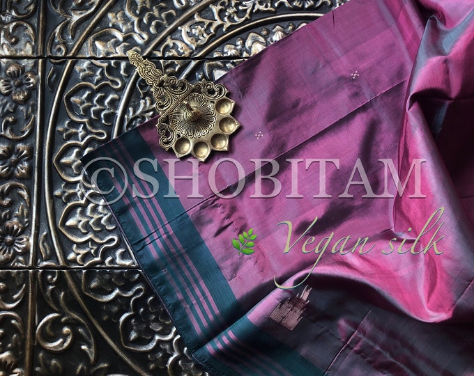 Vegan Silk Saree : Dual tone pink- rama green | Pretty Saree | Shobitam Saree