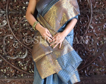 Stunning Gray Checks Saree  | Statement Saree | Kora Silk Cotton Saree | Partywear Saree