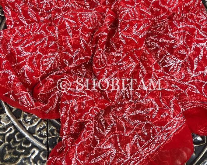 DUPATTA - Tepchi Hand Embroidery Dupatta in Red | Indian Scarves for women | Shobitam Dupatta