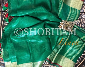 Green with Red Border Linen Saree I Organic Linen by Linen  Saree I FREE SHIPPING in USA