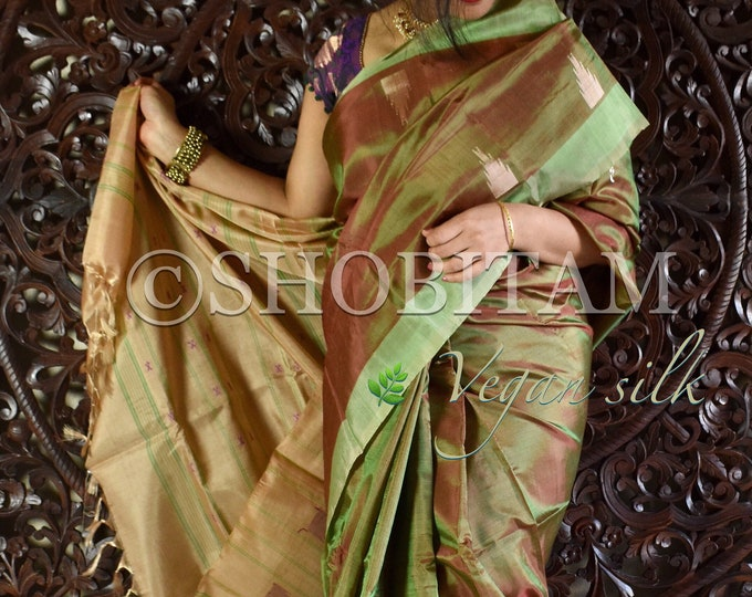 Vegan Silk Saree : Dual tone green -brown with beige Pallu | Pretty Saree | Shobitam Saree