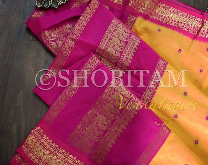 Gorgeous bright yellow with hot pink Venkatagiri Cotton Silk Saree with buttas  | Pretty Saree
