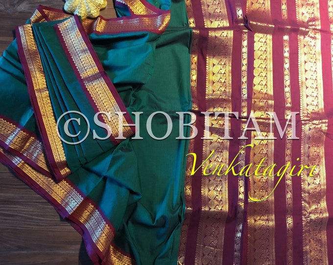 Gorgeous green maroon Venkatagiri Cotton Silk Saree   | Pretty Saree