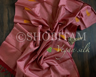 Vegan Silk Saree in onion pinkPink  ! Pretty Sari! Vegan Silk |Shobitam Saree
