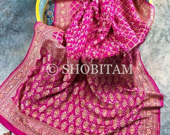 Premium quality Handwoven Silk Georgette Bandhej Saree with designer tassels | SILK MARK CERTIFIED  | Shobitam  Saree