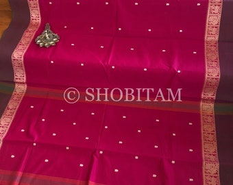 Handloom Saree : Pure Cotton Saree  in Pink with peacock motif weaving border | Shobitam Saree