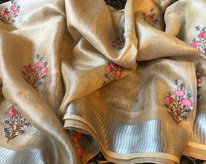 Tissue Linen Mughal floral embroidery Saree - sepia yellow   Organic Linen by Linen  Saree I FREE SHIPPING in USA