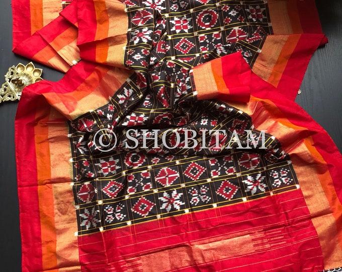 Pure Silk Dupatta in Patola Design Ikkat weave | SILK MARK CERTIFIED Ikkat Dupatta | Pochampalli Dupatta | Shobitam Dupatta