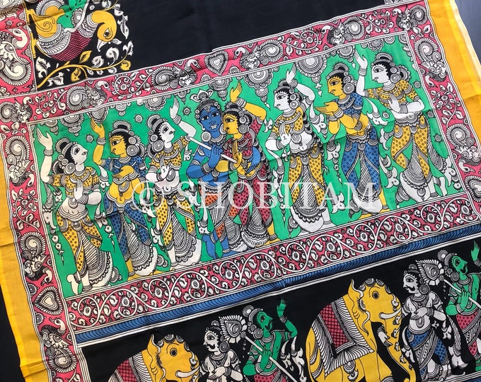 Raas Leela Painting Authentic Pen Kalamkari Handpainted Saree on Chennuri Silk | Kalamkari Saree | Shobitam  Saree