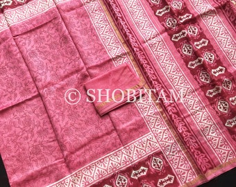 Chanderi Cotton Hand block Printed Saree | Cotton Saree With Gold Zari Strip | Beautiful Sari! Shobitam Saree