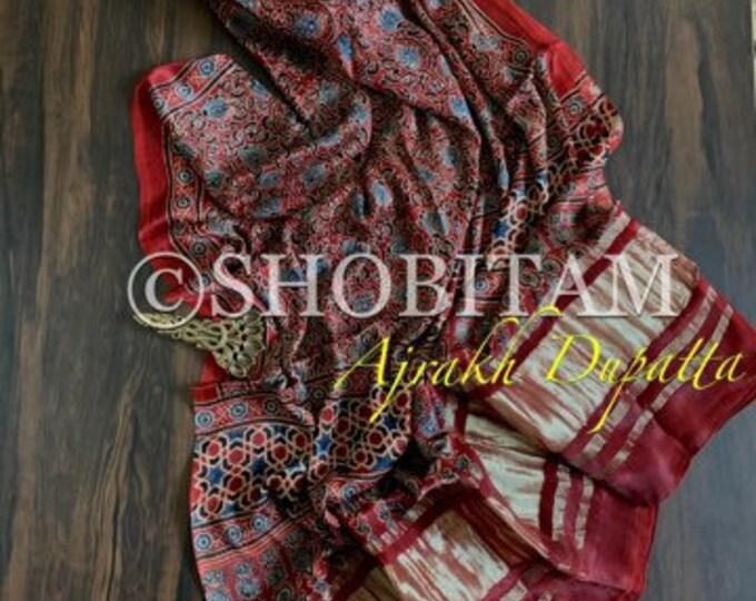 Ajrakh Dupatta on Modal Silk with zari border | Shobitam Dupatta | Silk Dupatta
