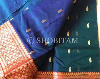 Chanderi Silk Saree in Katan Silk | STUNNING SAREE in dual tone Bottle green-midnight blue