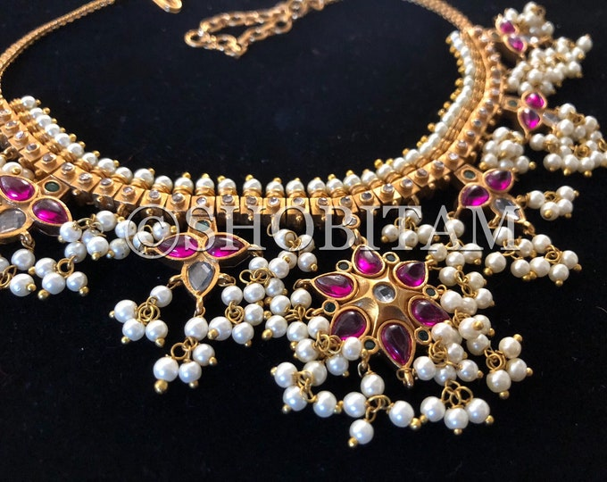 Kusum Necklace Set  -  Studded necklace and Earrings set with dainty pearls hanging  I  Gorgeous premium quality set | Shobitam jewelry