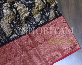 Blue Kalamkari Print with Antique Kanchi border on Chanderi Cotton Silk | Statement Chanderi Saree | Kalamkari Saree | Shobitam Saree