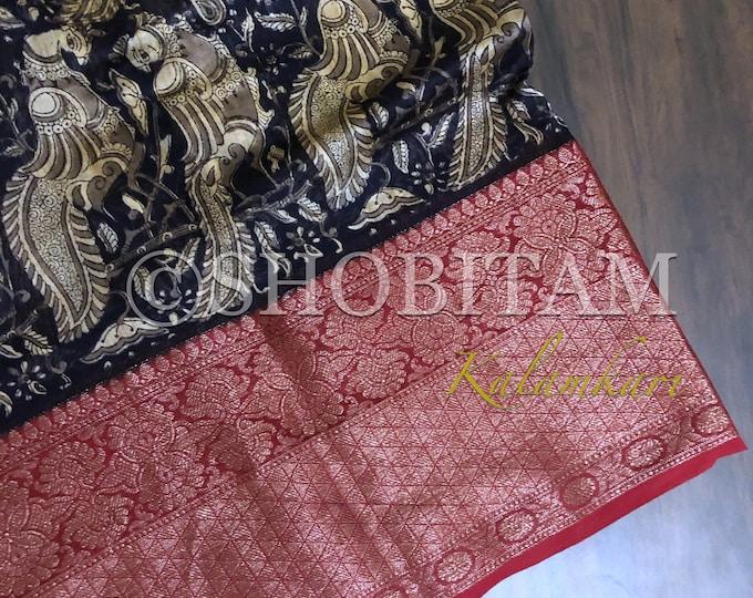 Blue Kalamkari Print with Antique Kanchi border on Chanderi Cotton Silk | Statement Chanderi Saree | Kalamkari Saree | Shobitam Saree