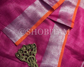 Hot pink with Orange Linen Saree I Linen by Linen Saree | Shobitam Saree