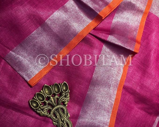 Hot pink with Orange Linen Saree I Linen by Linen Saree   Shobitam Saree