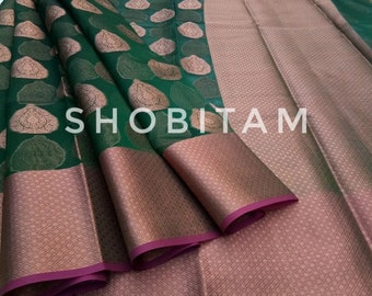 Green Banarasi Organza Saree. Beautiful Sari. Eid Saree