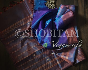 Vegan Silk Saree in dual tone blue purple ! Pretty Sari! Shobitam Saree
