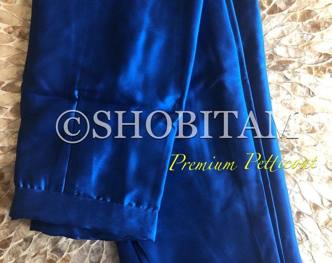 Premium Quality Cobalt Blue Satin Petticoat for saree, in standard size.