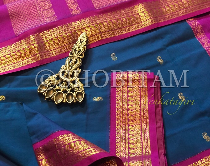 Blue with purple pink Venkatagiri Cotton Silk Saree  | Pretty Saree | Shobitam Saree