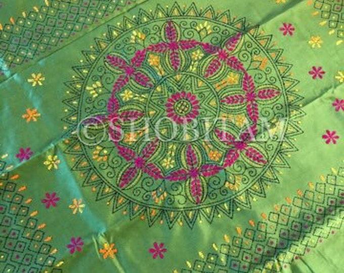 Kantha Stitch handmade saree I Grand Pallu | Silk Saree  | Pretty Sari! | Handmade Saree | Shobitam Saree