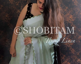 Signature Saree Scalloped -silver- pastel green Tissue Linen striped Saree| Evening Wear Sari | Pretty  Bollywood Saree | Shobitam Saree