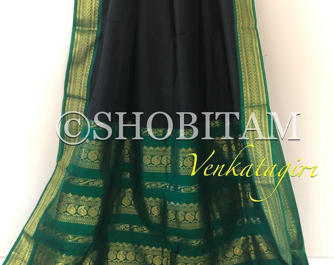 Ravishing Black with green Venkatagiri Cotton Silk Saree with grand pallu  | Pretty Saree