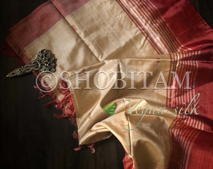Vegan Silk Saree in off white with red pallu ! Pretty Sari! Shobitam Saree