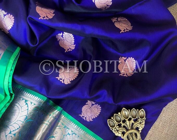 Kanchipuram Silk Saree in Dark Blue with peacock motifs    SILK MARK CERTIFIED   Wedding Saree   Kanjivaram Saree  Shobitam Saree