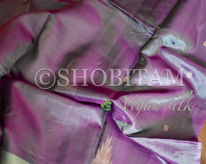 Vegan Silk Saree : Dual tone lavender Blue  with beige Pallu | Pretty Saree | Shobitam Saree