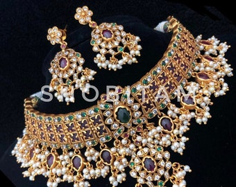 Padmavati Necklace Set  -  Studded Choker and Earrings set I  Gorgeous premium quality heavy set | Bridal Jewelry Set | Bollywood Jewelry