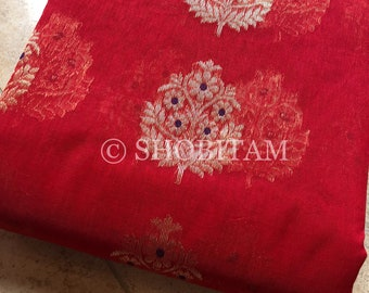 Pure Chanderi Silk Cotton Saree: Statement Red Saree with buttas | Karvachauth Saree | Shobitam Saree