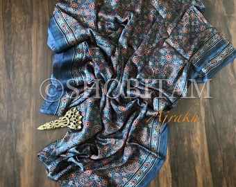 Ajrakh  on Modal Silk | Blue Saree | Silk saree | Shobitam Saree
