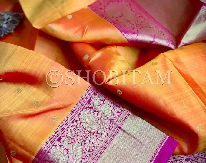 Statement Kanjeevaram in triple tone orange mustard pink    AnnaPakshi Motifs  SILK MARK CERTIFIED   Grand Saree   Shobitam Saree