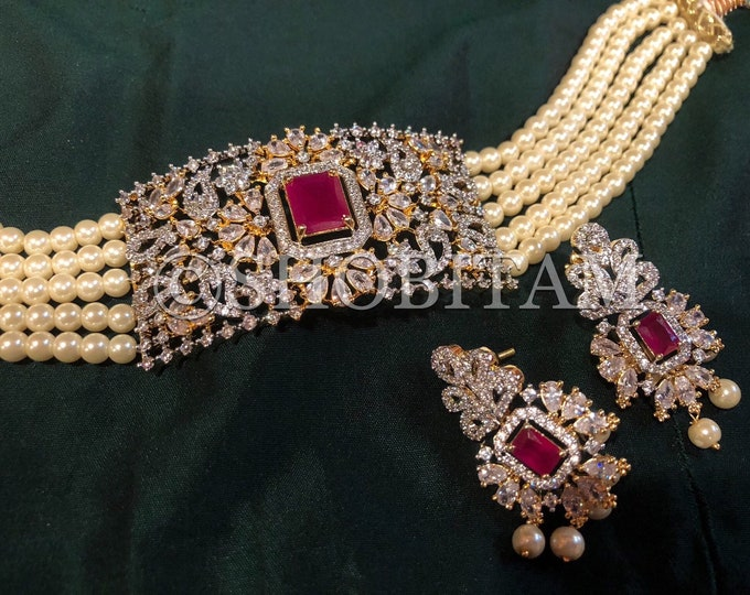 Indian Necklace: Choker set in pearls and CZ stones I Party Necklace I Bridal Jewelry I  Statement necklace I Indian Jewelry
