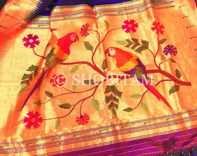 Pure  Paithani Premium Quality handloom Silk Saree   Paithani Saree with Muniya motifs   SILK MARK CERTIFIED    Shobitam  Saree