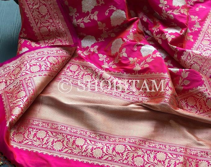 Jungla Banarasi Saree with Alfi Sona Rupa Weave | Authentic Kadhuwa Jungla Saree | Jungla Saree |SILK MARK CERTIFIED | Shobitam Saree