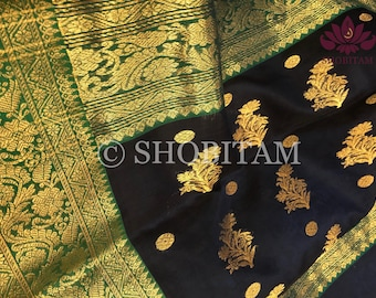 Chanderi Silk Saree in Katan Silk | Beautiful Handloom Saree in midnight blue | Shobitam Saree