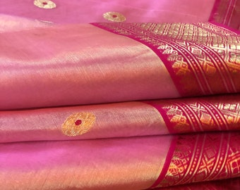Pure Chanderi Tissue Silk Saree in Pink| Authentic Chanderi Tissue saree in Katan Silk | Shobitam Saree